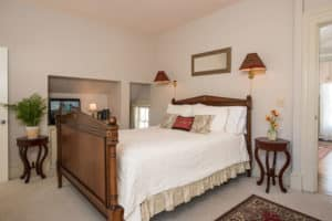 The bedroom in the Captain Farris Suite
