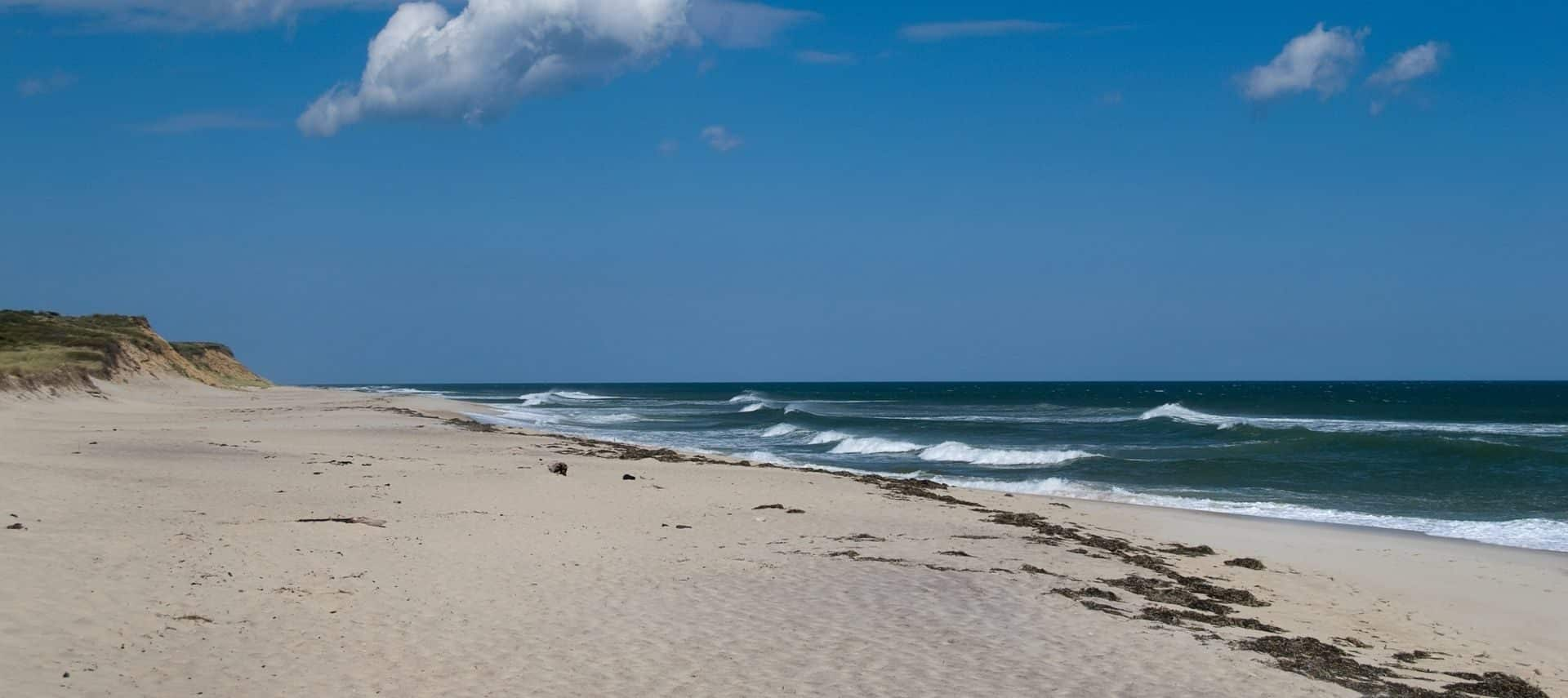 Sandy beach and blue waters at Cape Cod's National Sea Shore