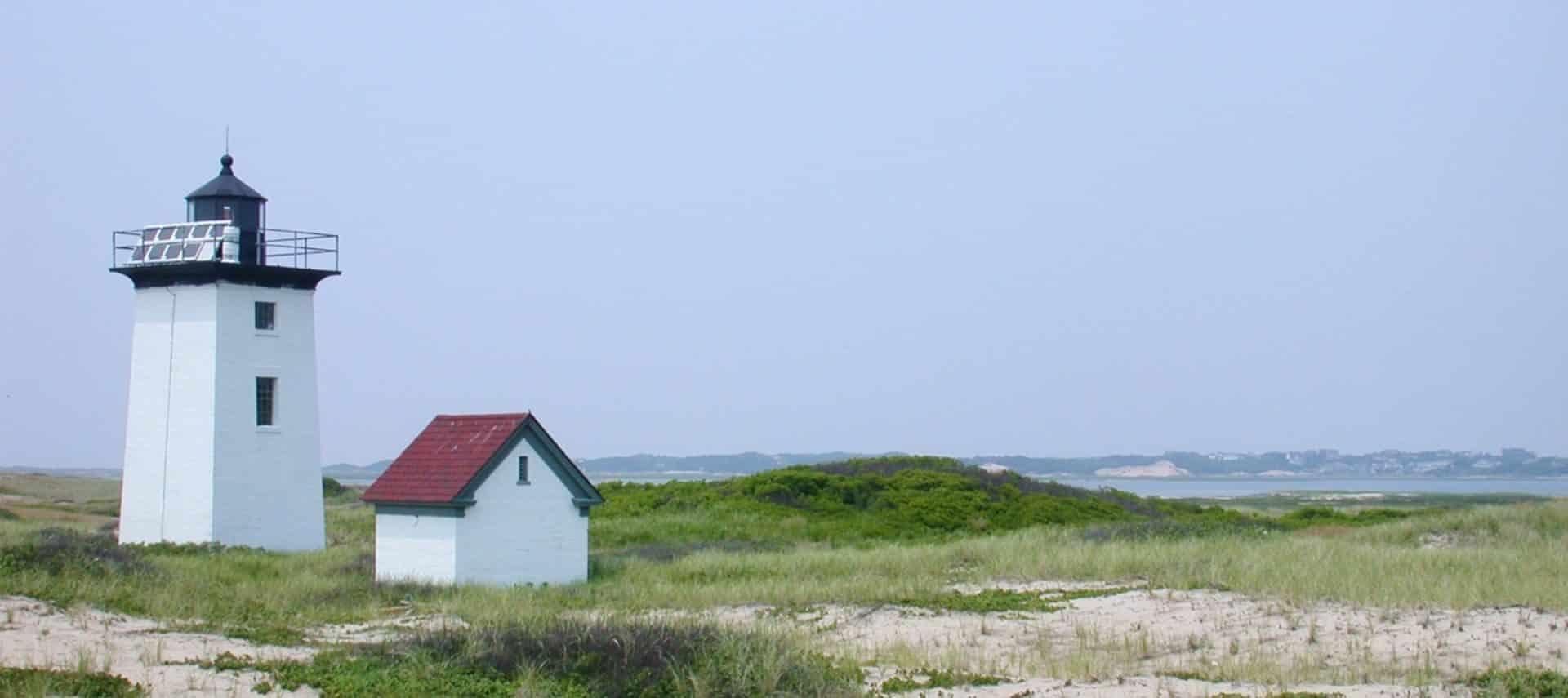 Lighthouse on a beach on Cape Cod