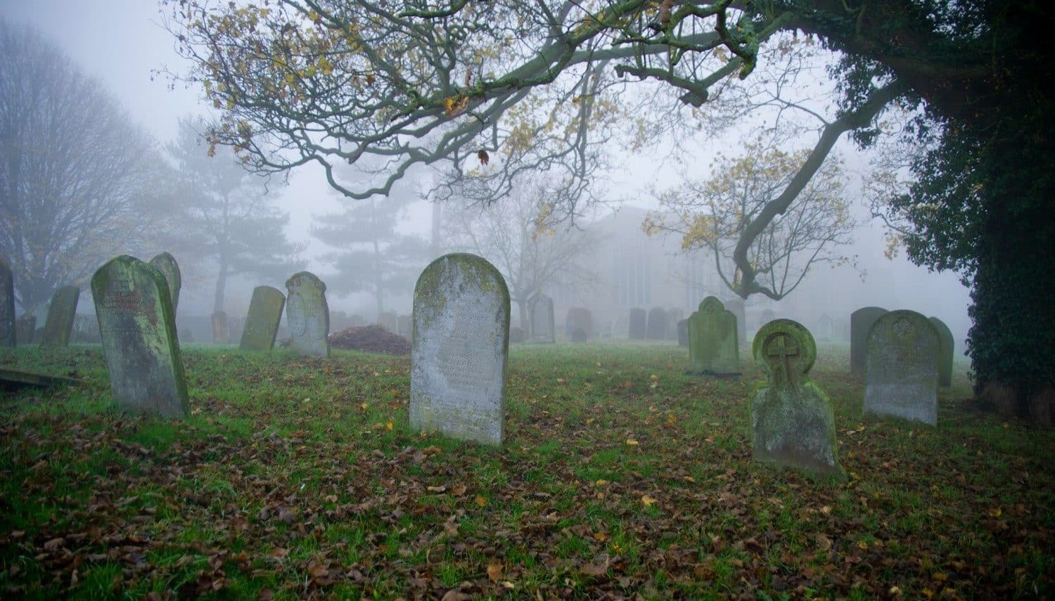 A foggy cemetery that's one of the stops on a Cape Cod ghost tour