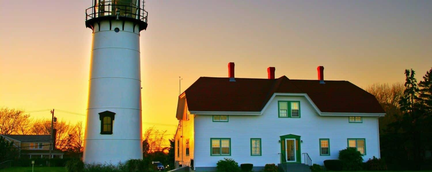 Chatham Lighthouse, one of the iconic Cape Cod landmarks, at sunset