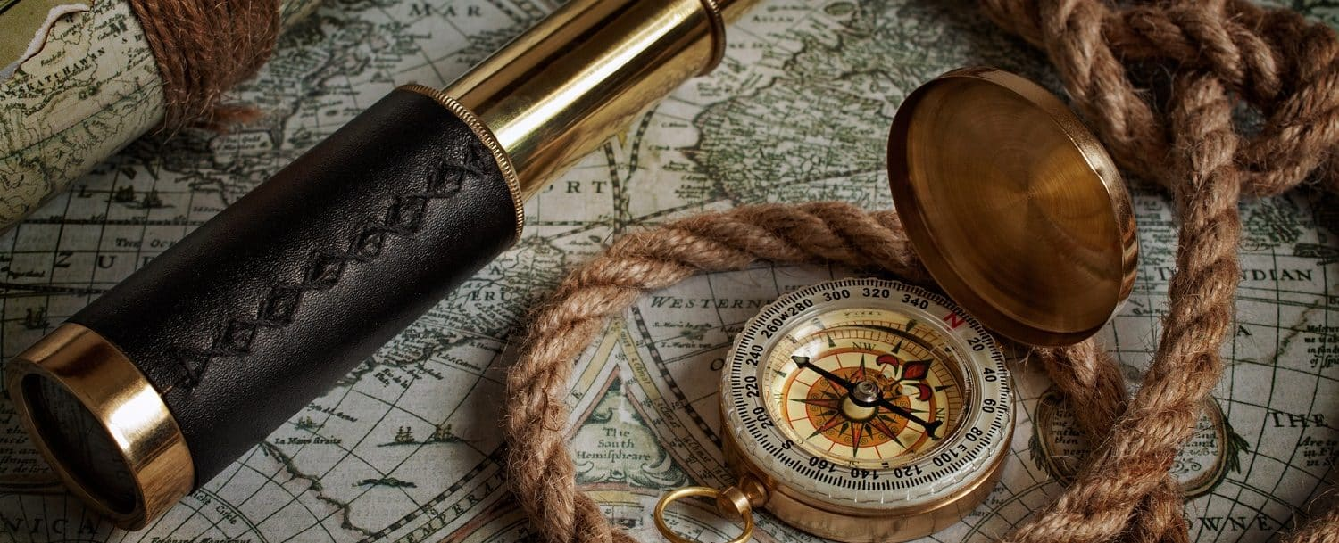 A map and compass at a Cape Cod museum