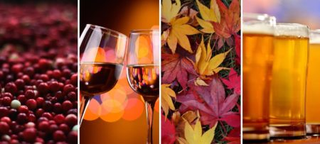 Cranberries, clinking wine glasses, fall leaves, glasses of craft beer — fall for Cape Cod.
