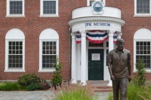 The front entrance to the John F. Kennedy Hyannis Museum