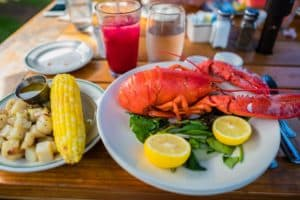 Lobster dish at a Cape Cod restaurant in springtime
