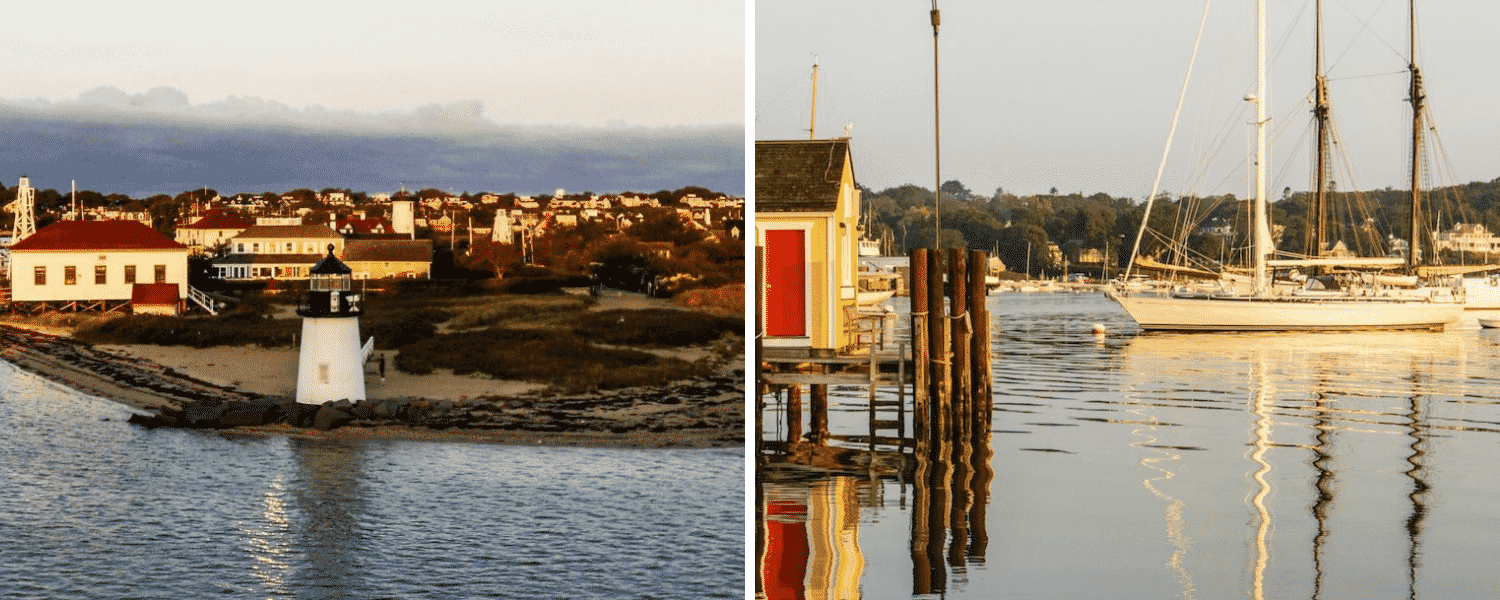 Side-by-side pictures of Nantucket and Martha's Vineyard