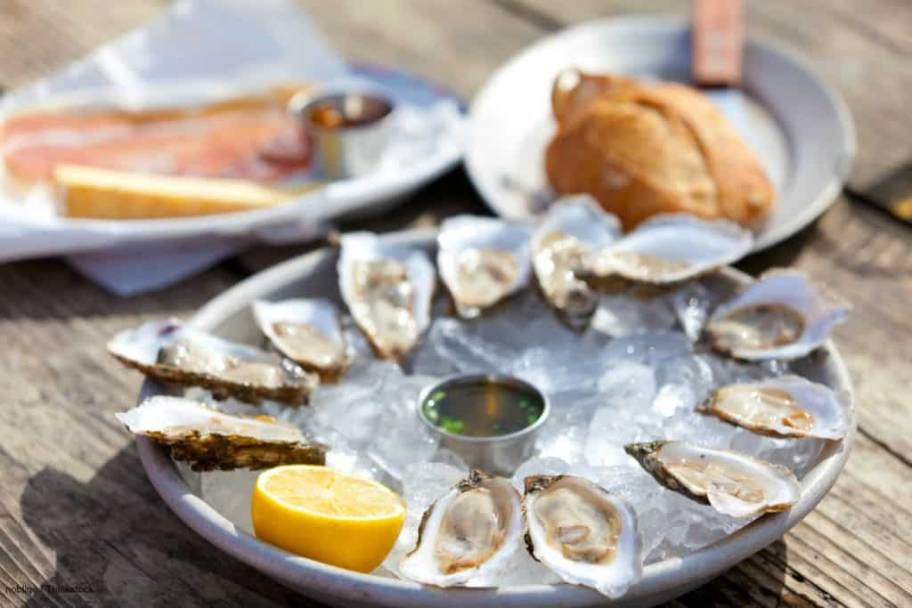 plate of freshly shucked oysters on a bed of ice with lemon