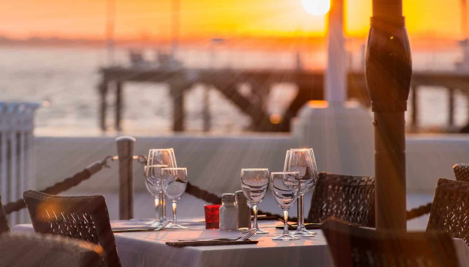 A table by the coast at one of the best Yarmouth restaurants on the water